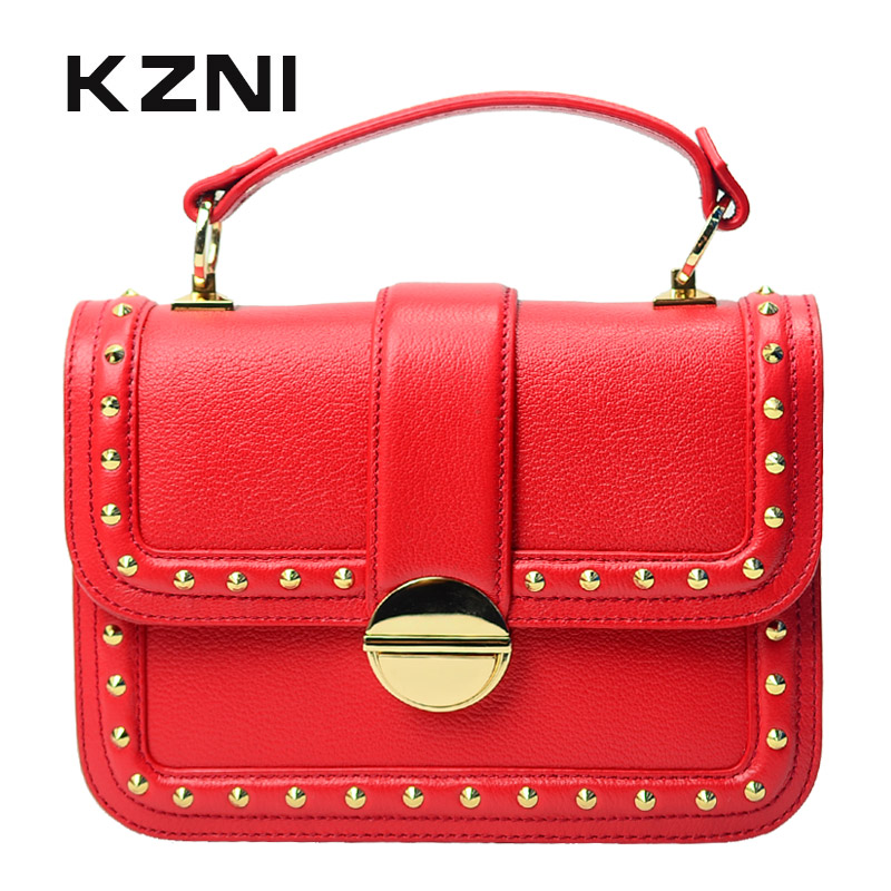 KZNI Genuine Leather Top-handle Bags Rivet Crossbody Bag with Chain Women Leather Handbags Sac a Main Pochette Sac Fem 1427-1428 kzni genuine leather top handle bags rivet crossbody bag with chain women leather handbags sac a main pochette sac fem 1427 1428