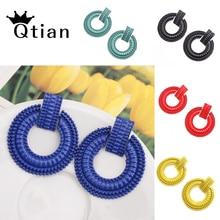 цена на Qtian Big Earrings for women Tassel large Statement Earrings 2019 fashion Hoop Earrings For Women Tassel Vintage Hoop Earrings