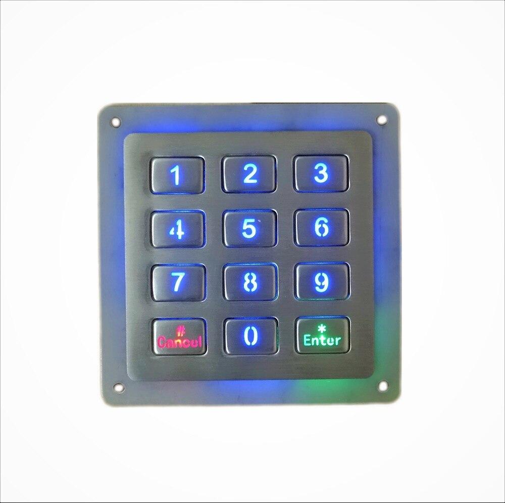 12 keys 4x3 metal backlight stainless steel illuminated numeric keypad waterproof digital led. Black Bedroom Furniture Sets. Home Design Ideas