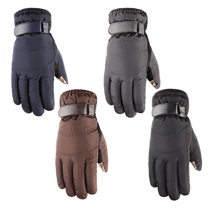 Mens Non-slip Windproof Cold-proof Warm Touch Screen Gloves Winter Outdoor Sports Skiing Snowboard Bike Riding Cotton Gloves