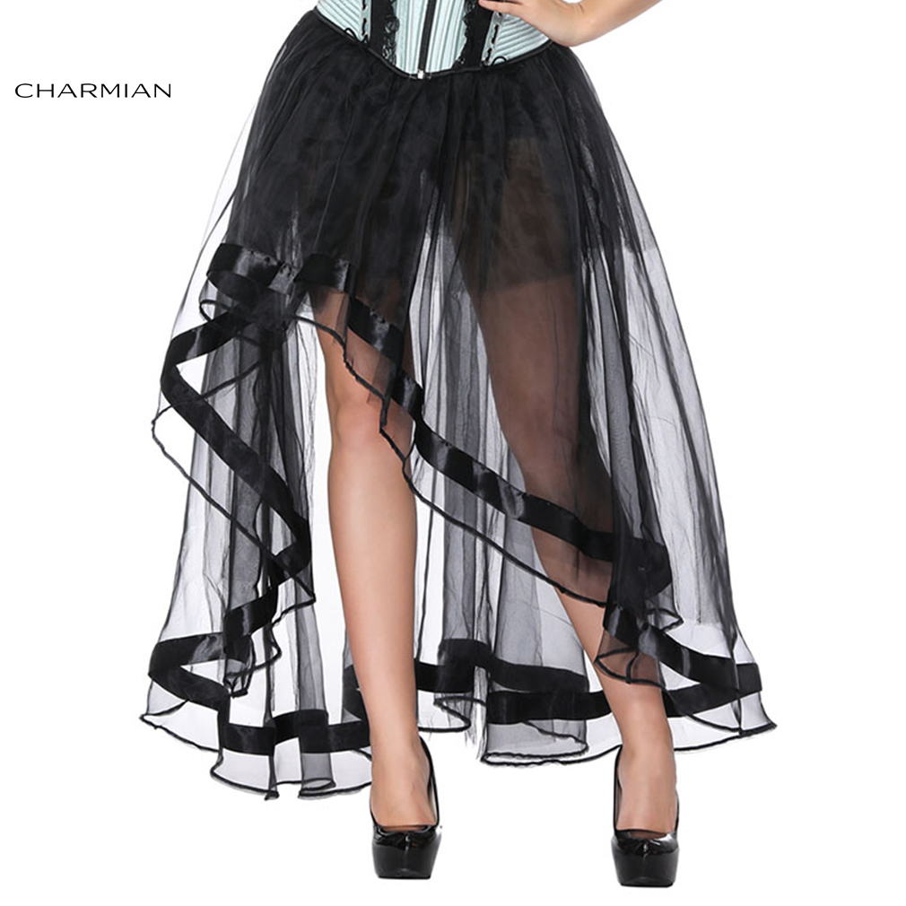Charmian Women's Sexy Black High Low Gothic Tulle Skirt Dance Party High Waist Retro Vintage Organza Multi Layers Tutu Skirt