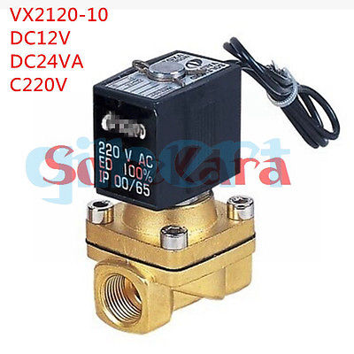 12VDC 24VDC 220VAC 3/8 Electric Solenoid Valve Air Water VX2120-10 2 Way Normally Closed free shipping normally closed solenoid valve 2v025 08 220vac 1 4 high qulity for water air gas 2v sereis two way valve