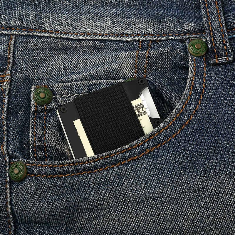 Cartera de Metal Rfid aviador Nfc viaje soporte de tarjeta de crédito de aluminio con Clip de carteras de dinero