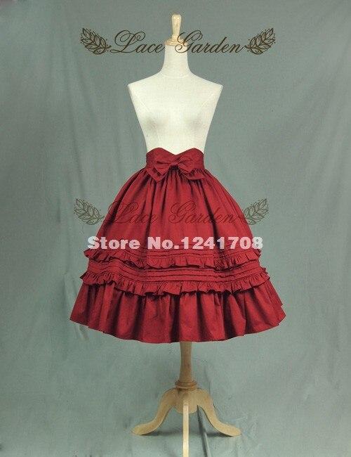 Heißer Verkauf Rote Rüschen Mehrschichtigen Bogen Baumwolle Lolita Rock