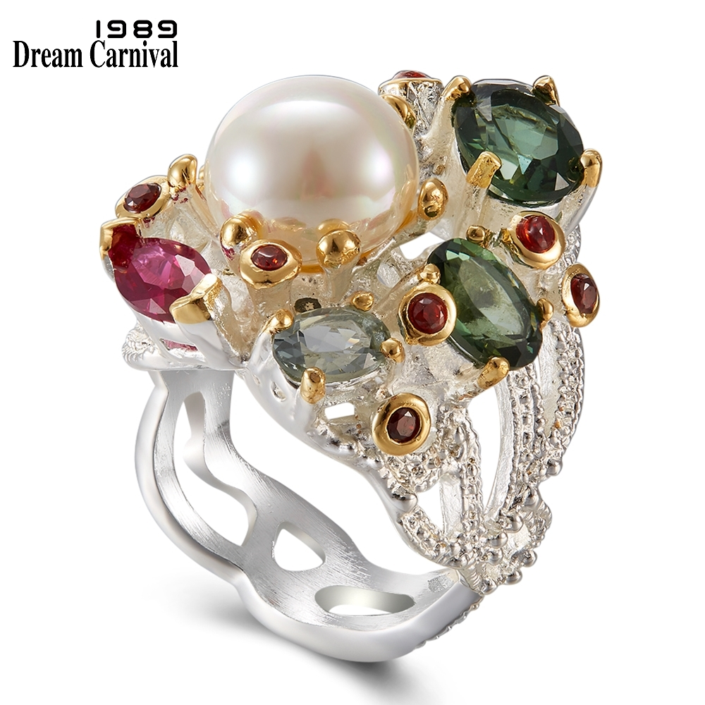 DreamCarnival 1989 Infinity Colors Series Women Rings Silver Gold Color Coated Gorgeous Shiny Zircon Jewelry of the Day WA11693-in Rings from Jewelry & Accessories