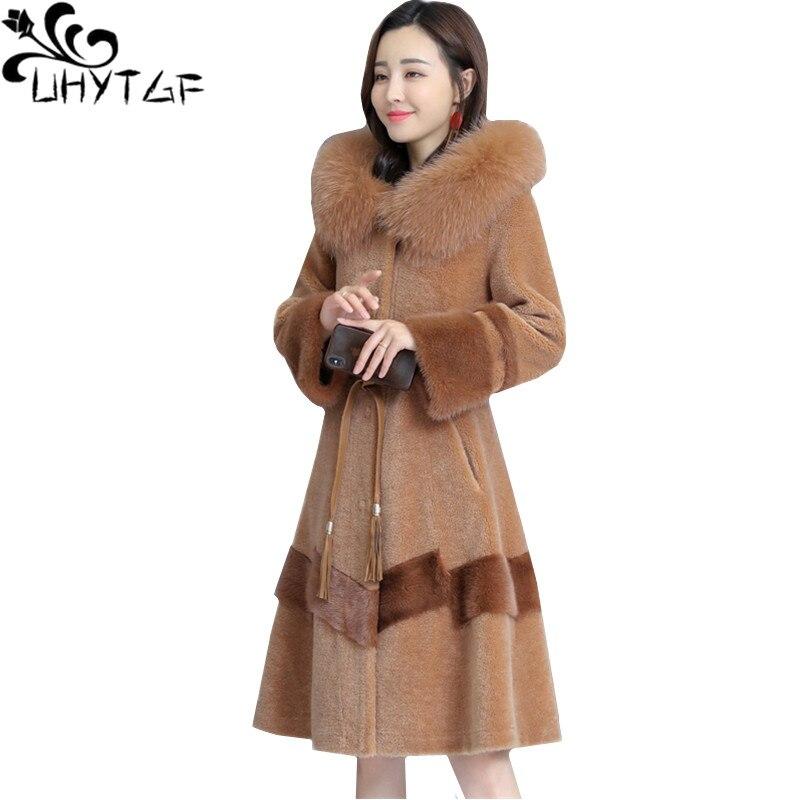 UHYTGF luxury Fox fur collar Hooded Winter Fur Coat Sheep shearing Slim long Outerwear Mink Warm