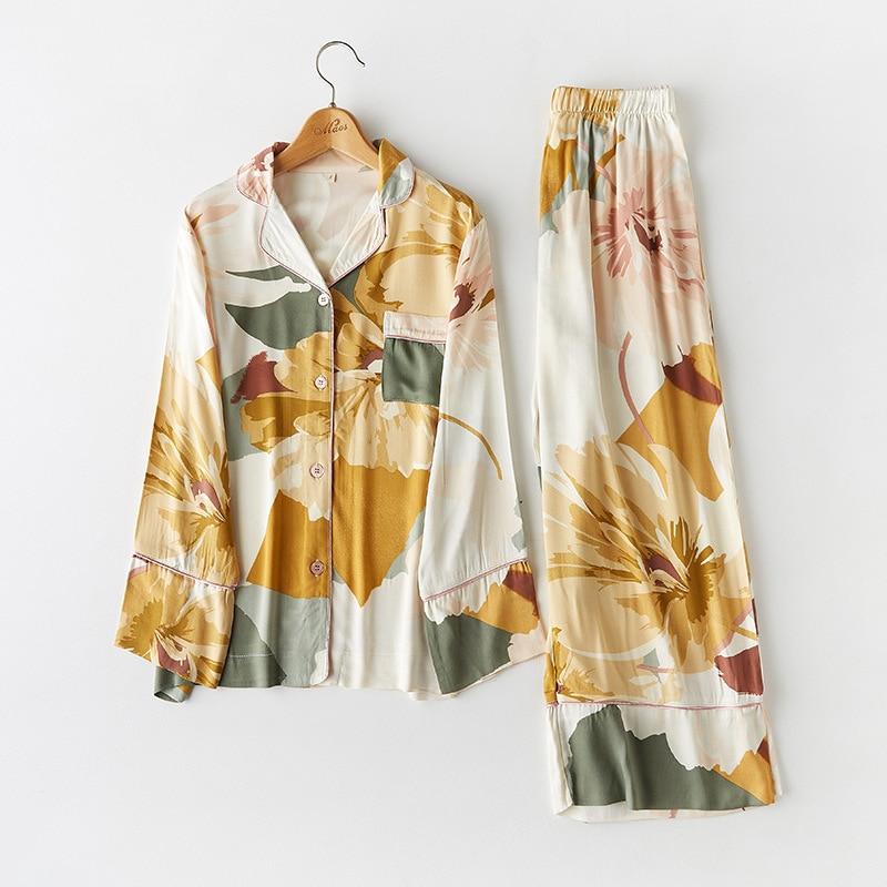 CEARPION Femme Pajama Suit Print Flower Long Sleeve 2pcs Shirt pants Nightwear Casual Women Pajamas Set