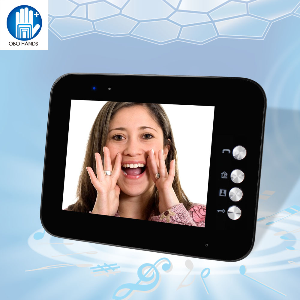 8'' TFT LCD Color Video Door Phone Intercom Doorbell System Black Color Indoor Unit Monitor Screen Without IR Outdoor Camera 7inch video door phone intercom system for 5apartment tft lcd screen 5 flat indoor monitor with night vision cmos outdoor camera