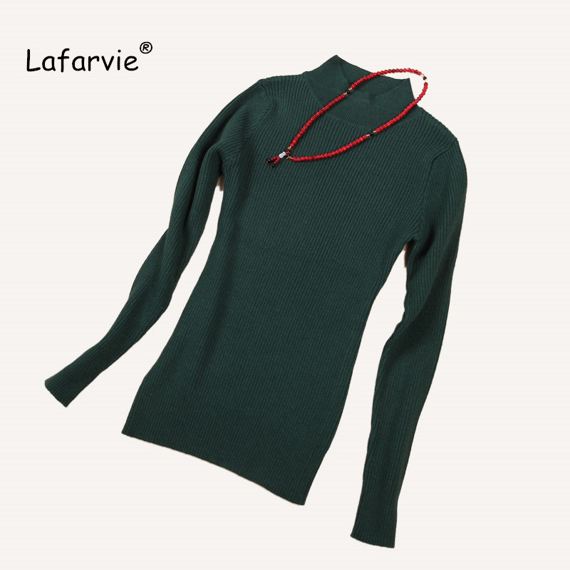 Lafarvie Women's Sweater 2018 Autumn Winter Mid Turtleneck Knitted Pullovers Long Sleeve Slim Soft Streched Cashmere Knitwear