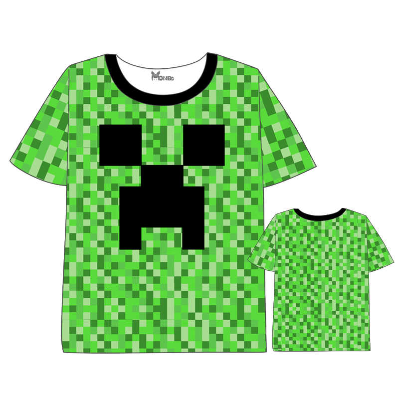 6496bec67 Anime Minecraft Steve CreepT Shirts World Popular T-shirt Short Sleeve  Summer dress Cartoon Tops