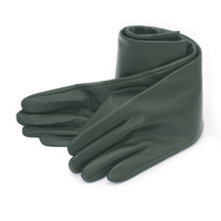 new arrive! women 2017 top sheep leather with warm lining elbow long evening gloves dark green