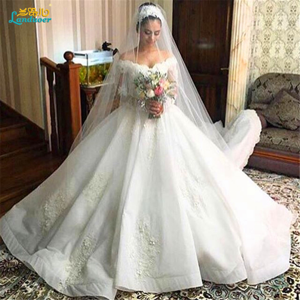 Unique Wedding Dresses 2017 Ball Gown Puffy Vintage Lace Long Sleeves Muslim Gowns Off The Shoulder Vestidos De Novia On Aliexpress Alibaba