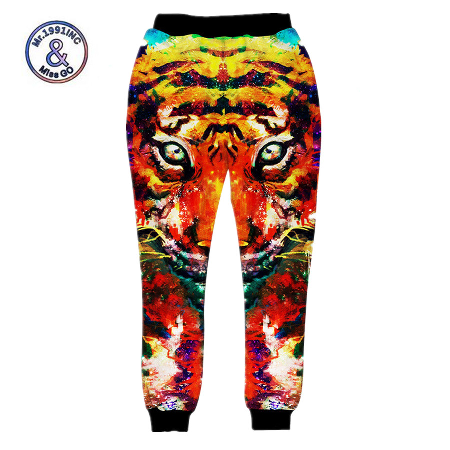 Mr.1991INC Newest Men/Women Harem Pants 3D Print Tiger Graphic Elastic Upon Trousers Casual Loose Comfortable Sweat Jogger Pants