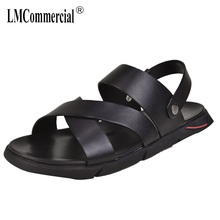 mens Roman sandals Genuine Leather casual thick bottom cowhide men slippers gladiator summer beach outdoor