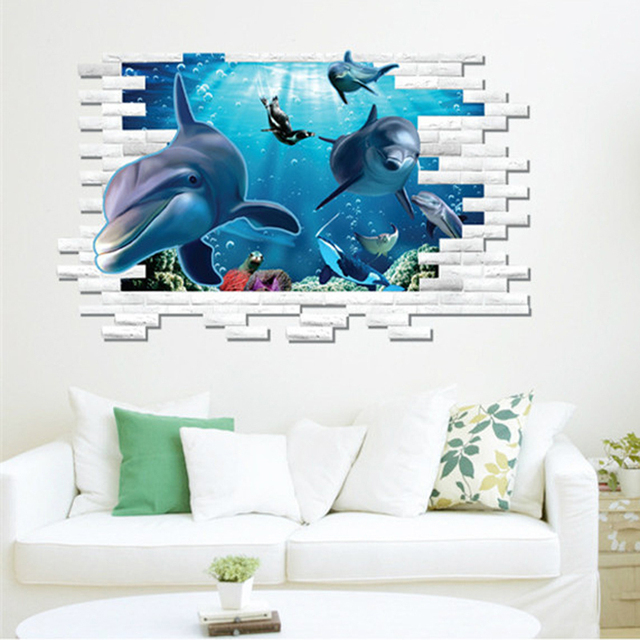 3D Dolphin Sea Wall Sticker