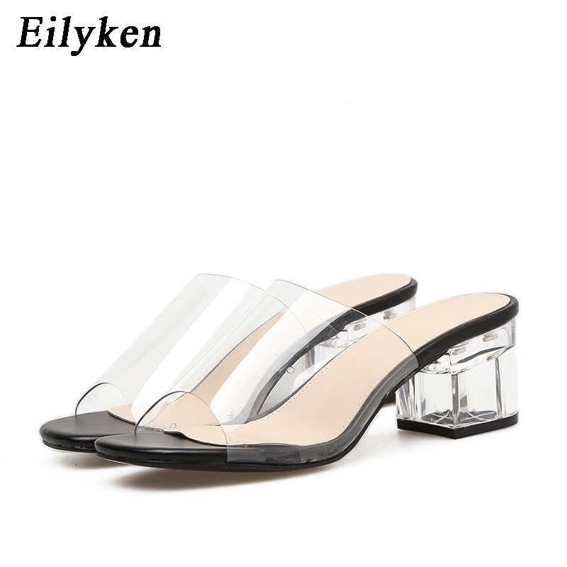 Eilyken 2020 PVC jöle kristal terlik açık parmaklı yüksek topuklu kadın şeffaf topuk terlik sandalet kare topuk zapatos