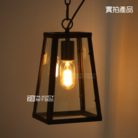 Vintage Edison Industrial Black Iron Clear Glass Box Ceiling Light Droplight With Chain For Balcony Hall Dining Room Cafe Bar