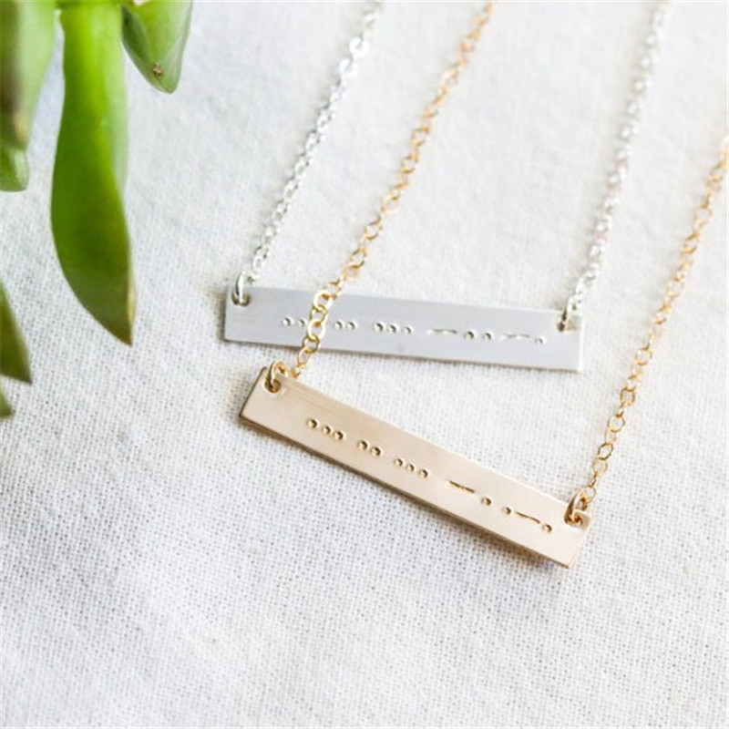 Popular Morse Code Necklace 2017 New Design Custom Pendant Necklace for Women Best Choker Collares for Lovers Secret Necklace ...