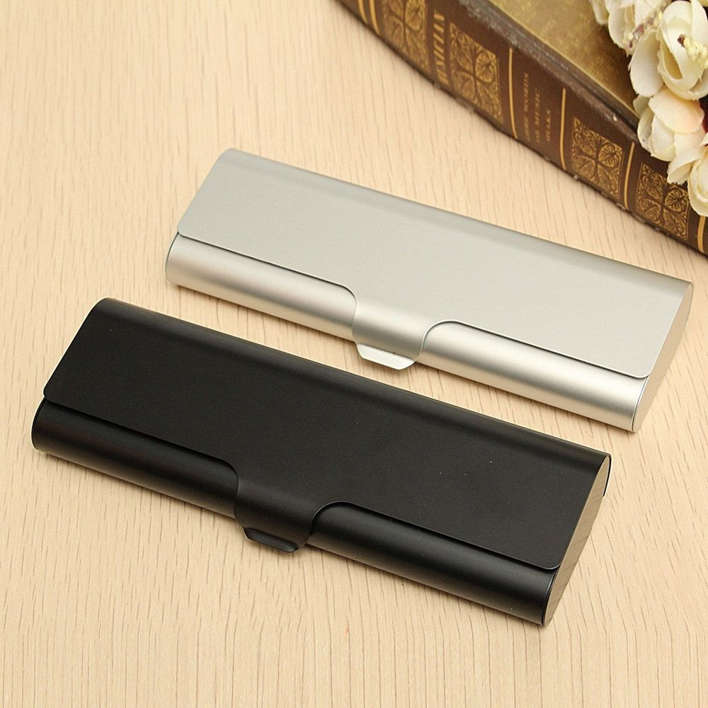 1Pcs Slim Matte Hard Metal Spectacles Glasses Protection Black Silver Eyeglasses Case Travel Portable Holder Box Gifts