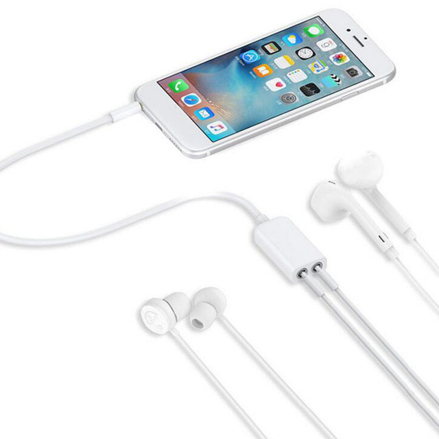 US $0 72 7% OFF|3 5 mm Dual Audio Line Headset Jack Earphone Splitter One  In Two Couples Lovers Adapter For iPhone MP3 MP4 Portable Media Player-in