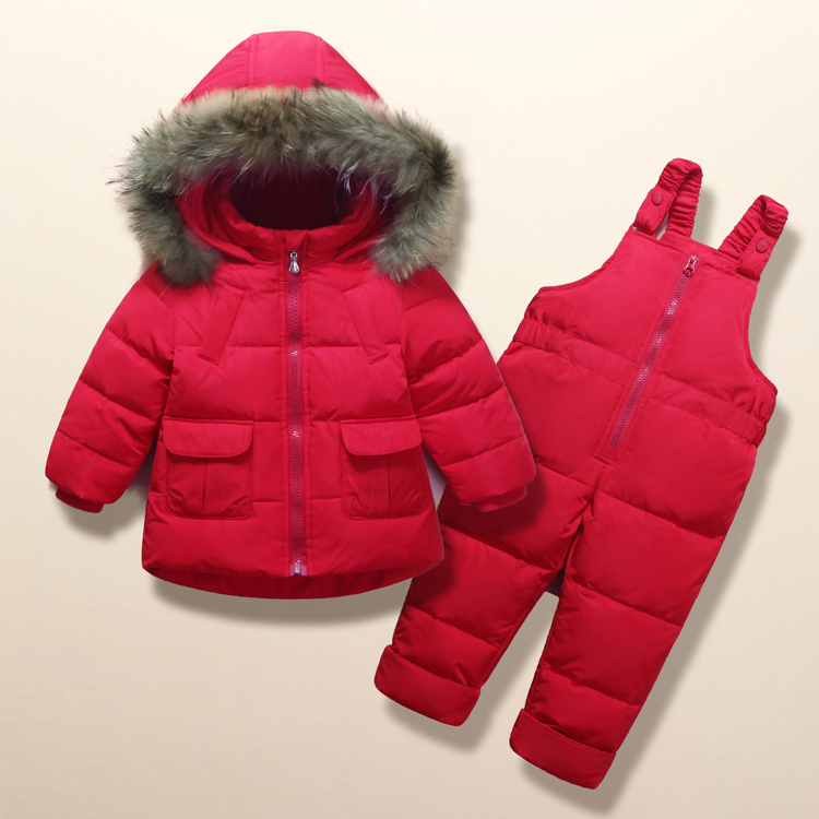2018 Winter Coat for Girls Warm Ski Suit Children Clothing Set Baby Boy Duck Down Jacket+Pants Overalls Kids Clothes Snowsuit 2017 new arrive winter children s ski pants boy and girl overalls down pants girls thick warm disassemble pant pants for 6 9t