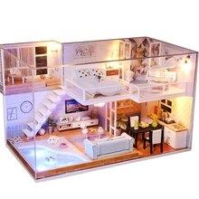手作りminiaturas木製diyドールハウスミニチュアドールハウス家具手芸モデルキットボックスパズル子供のギフト