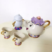 1 Pot+2 Cups+1 Sugar Pot Suits Classical Cartoon Beauty And The Beast Mrs Potts 18K Goldplated Mug Coffeware Sets fast shipping