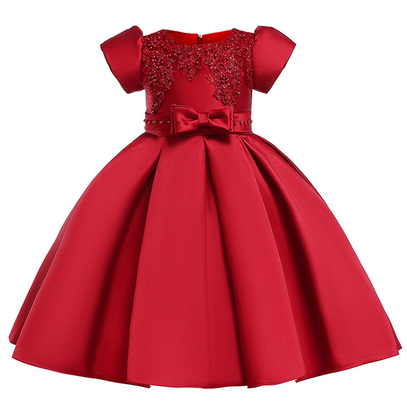Beading   flower     girls     dress   kids elegent bow tutu clothing baby princess party clothes children custumes 3-10 years clothing