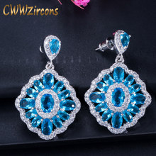 CWWZircons Brand 2018 New Trendy Gorgeous Big Light Blue Crystal Drop Earrings for Women Wedding Bridesmaid Jewelry Gift CZ340(China)