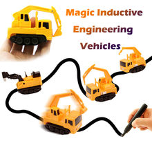 Magic Inductive Engineering Vehicles Follows Black Line Magic Toy Car Diecast Vehicle Draw Lines Induction Rail Car Kid Toys(China)
