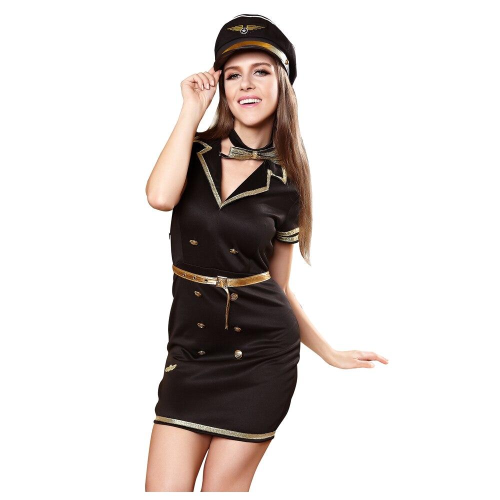 Sexy pilot captain halloween costume for women