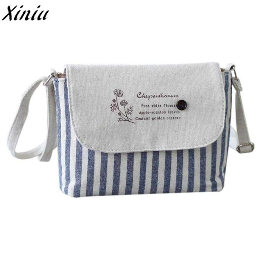 Women Handbag Girls Striped Cotton Cute Shoulder Bags Letters Small Fresh  Crossbody Bag Bolsa Feminina De 289ac7bf2af1c
