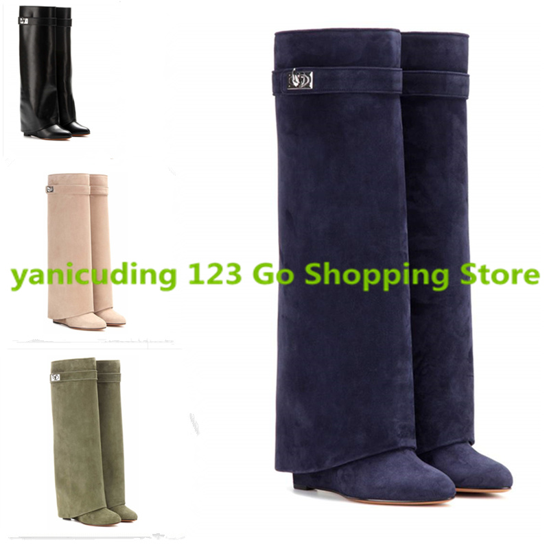 yanicuding Mid-calf Women Boots Winter Shoes European Super Star Runway Boots Street Style Dress Luxury Brand Metal Decor Boots double buckle cross straps mid calf boots