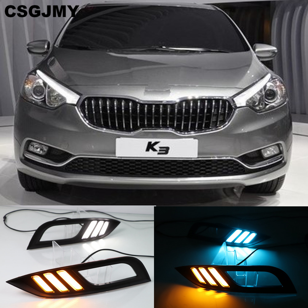 CSGJMY Led Daytime Running Lights DRL fog lamp cover with Yellow Turning Signal Function For Kia