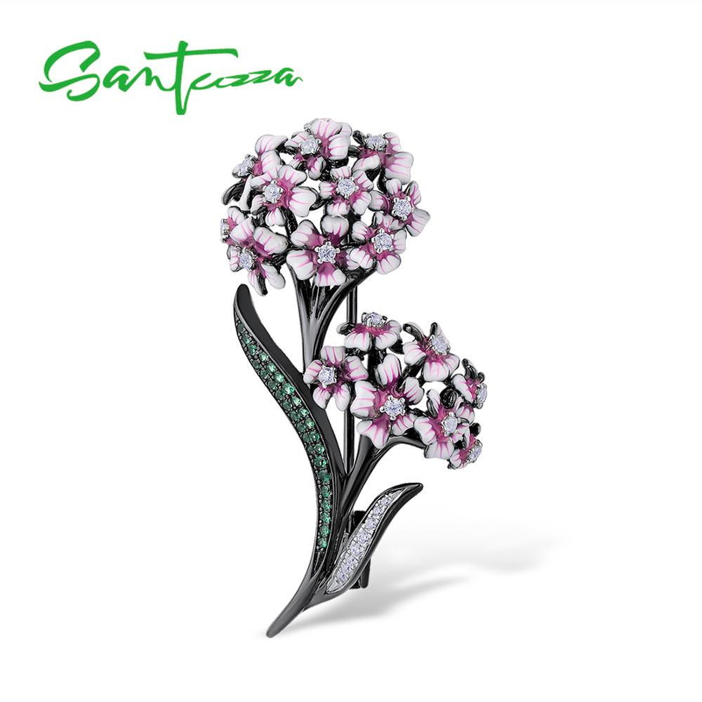 SANTUZZA Silver Brooch for Women Authentic 925 Sterling Silver Babysbreath Flower Ball Brooch Fashion Jewelry Handmade