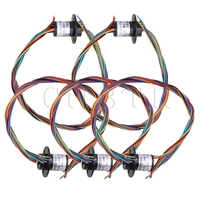 CNBTR 12.5mm Black Metal 250RPM 8 Wires Circuits Capsule Slip Ring 2A 240V AC/DC for Test Equipment Pack of 5