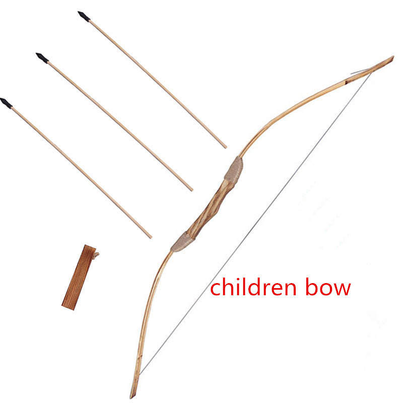 Good-quality  Powerful Wooden Wood Bow With 3 Arrows And Quiver Kids Toy Wood Archery Bow DIY Set Kids Gift 3