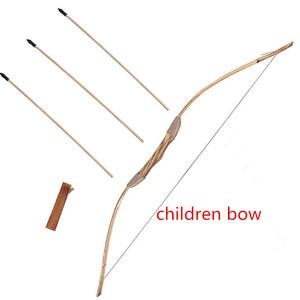 Image 3 - 良質強力な木製の木の弓 3 矢印と矢筒と子供のおもちゃ木製アーチェリー弓 DIY セット子供ギフト