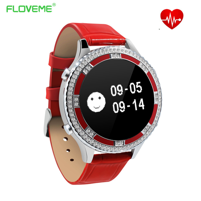 Floveme LadiesWatches Crystal Diamond Heart Rate Monitor Ladies 2017 Fashion Dress Casual Smart Wristwatch