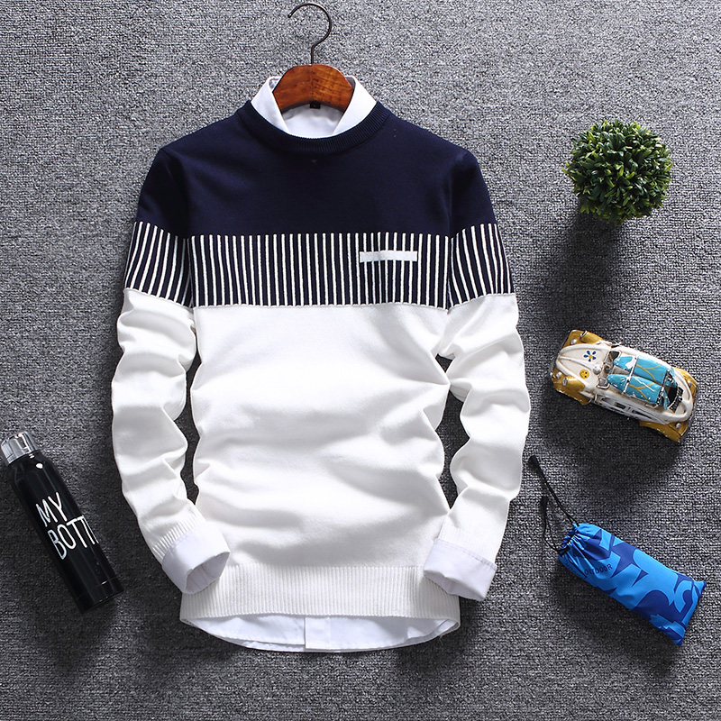 Sweater Men  New Brand Fashion Pullover Sweater Male Round Neck Patchwork Slim Fit Knitting Mens Sweaters Pullover Men Xxl