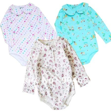 ea2c4e57a Brand new 100% cotton long sleeve and princess collar 3-pack graphic baby  girl bodysuits/rompers/pajamas
