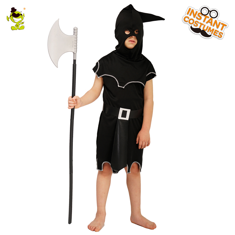 Demon Kids Executioner Costumes Role Play Hood  Black Robe Cosplay Boy's Exectioner Costumes Fancy Dress Halloween Parties