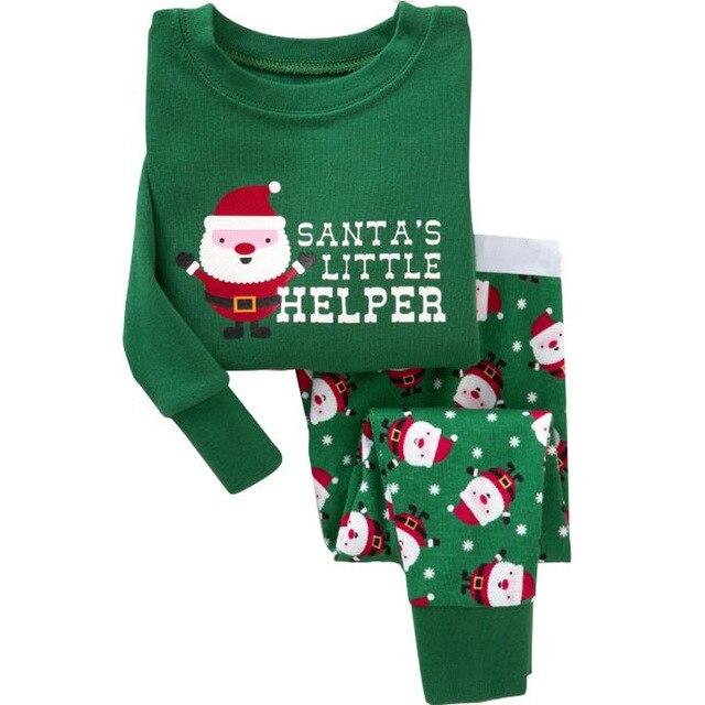 childrens christmas style pyjama set girls home wear 2 pcs santas little helper printed top - Children Christmas Pictures 2