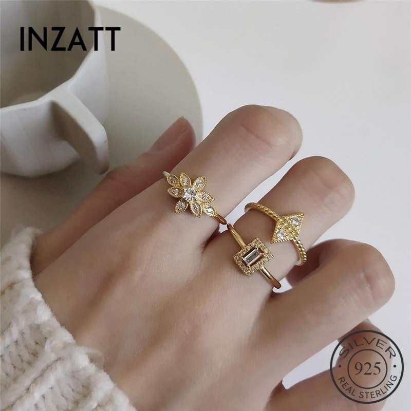 INZATT Real 925 Sterling Silver Geometric Triangle Square Zircon Ring For Fashion Women Fine Jewelry Trendy 2019 Accessories