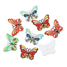 100Pcs Mixed Randomly Multicolor Butterfly Animal Wood Sewing Buttons 2 Holes Wooden Scrapbook 24x17mm