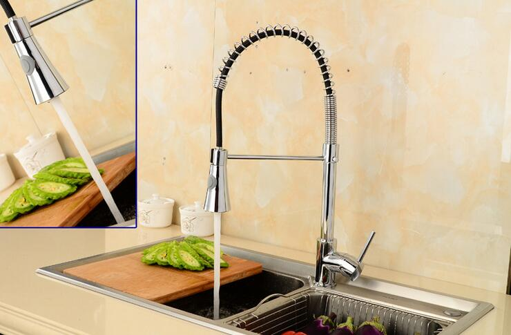 Stretched kitchen faucet mixer hot and cold, Copper sink basin faucet pull out, Rotated single hole dish basin faucet water tap kitchen hot and cold water faucet can be rotated sink faucet copper wash basin faucet three colors optional wx5081057