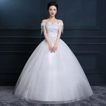 Свадебное платье на одно плечо Новое корейское платье невесты размера плюс с вырезом лодочкой и открытыми плечами Vestido De Noiva