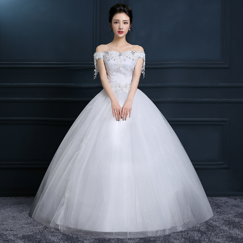 One Shoulder Wedding Dress 2019 New Korean Bride Plus Size Dress Boat Neck Off The Shoulder Vestido De Noiva