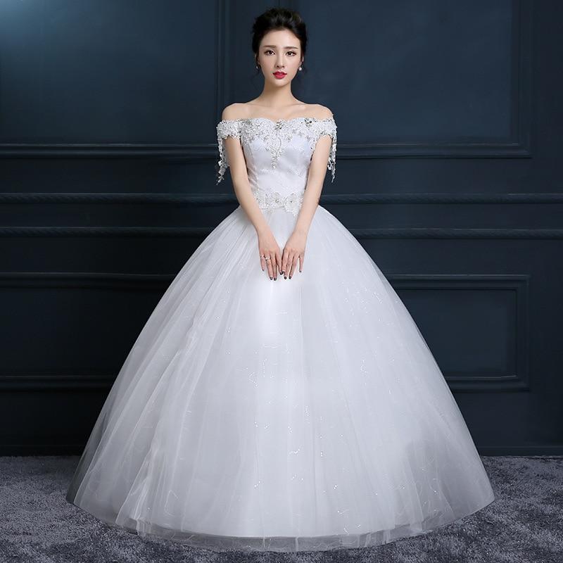 One Shoulder Wedding Dress 2019 New Korean Bride Plus Size Dress Boat Neck Off The Shoulder Vestido De Noiva