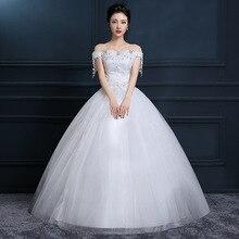 One Shoulder Wedding Dress 2019 New Korean Bride Plus Size Boat Neck Off The Vestido De Noiva